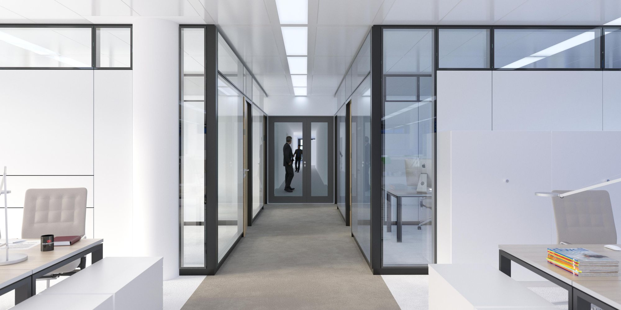 T65 partition system with structural glazing and black sections