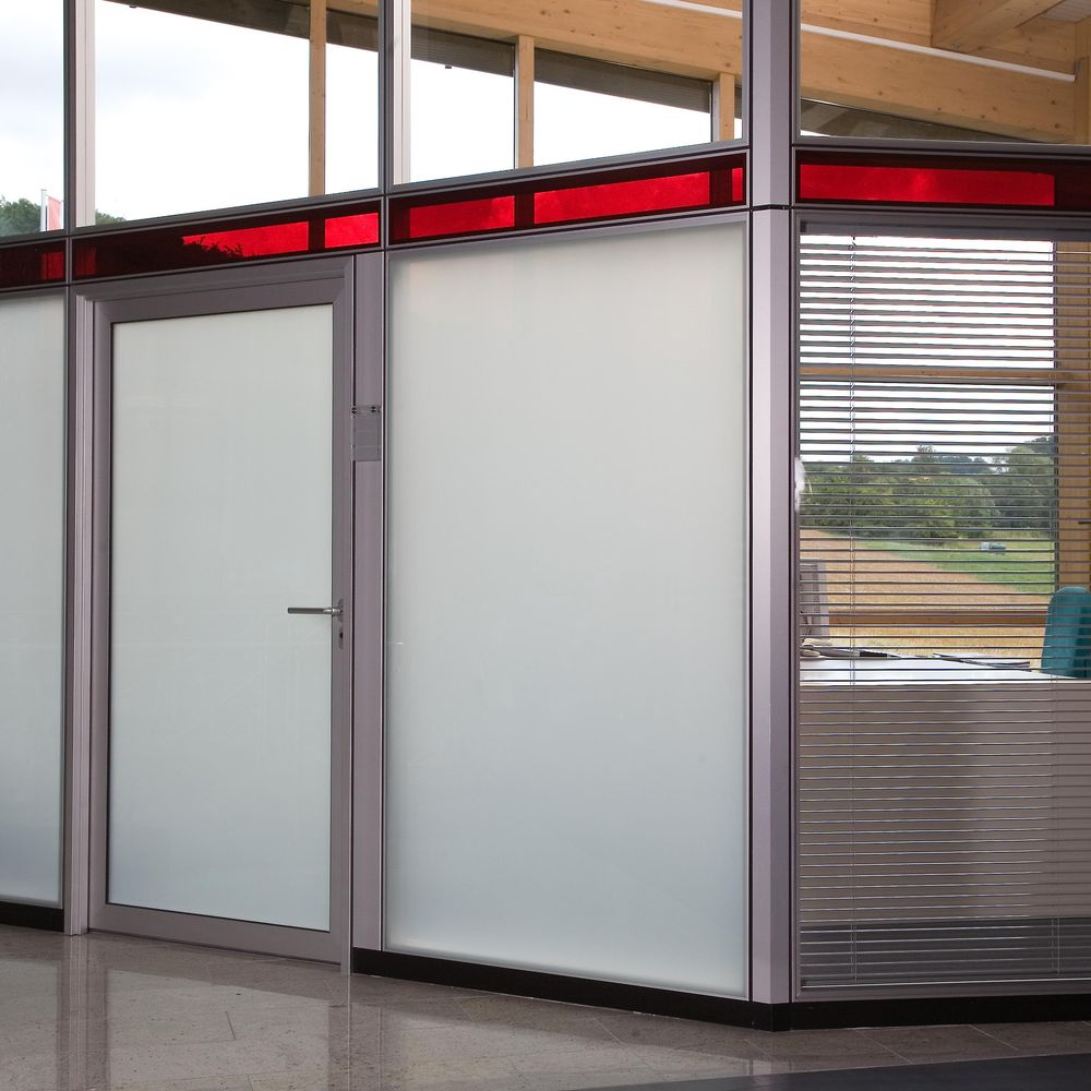 Aluminium tube frame door with smart glass panes
