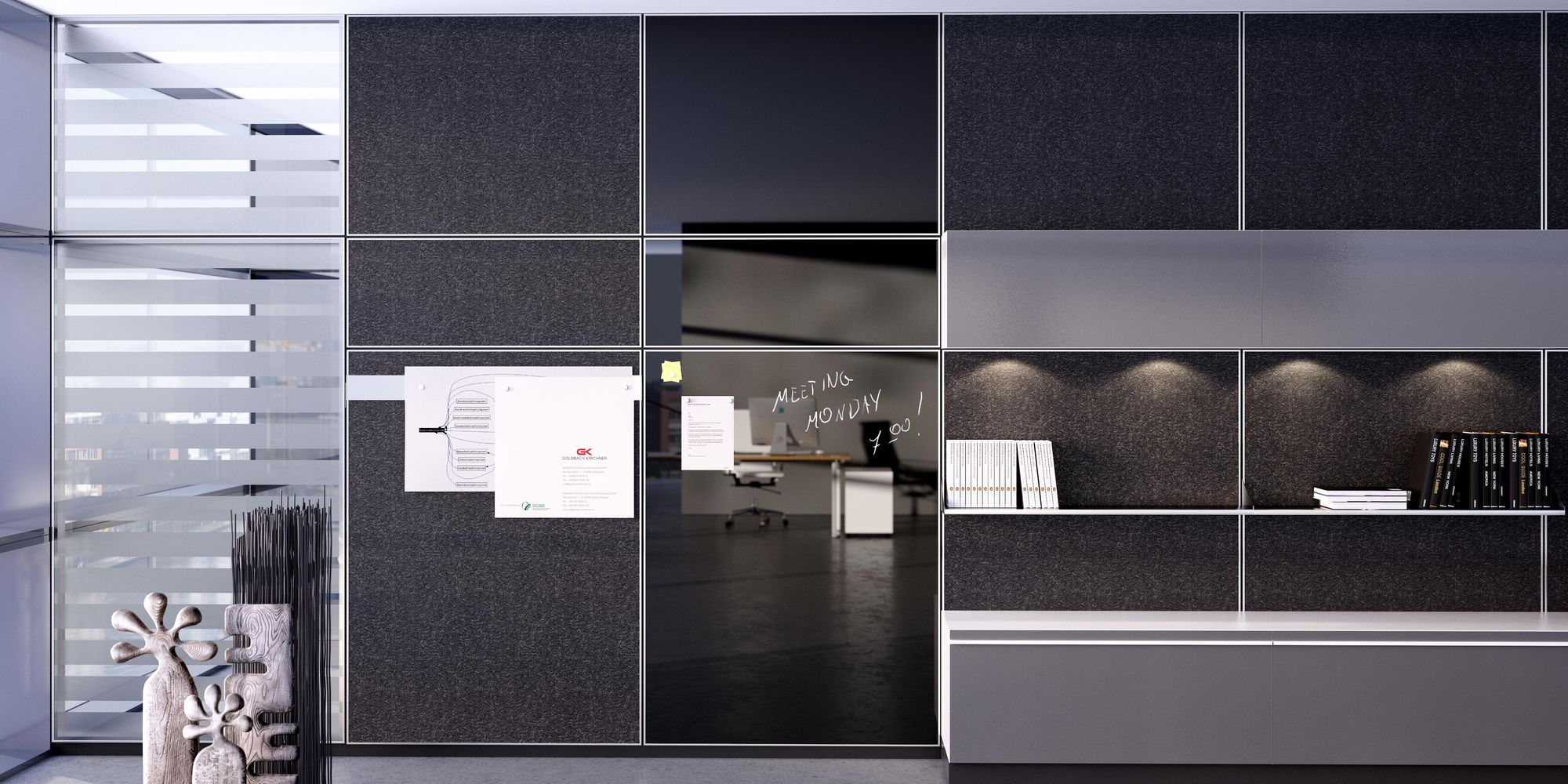 An office wall plus storage options with active acoustic surfaces
