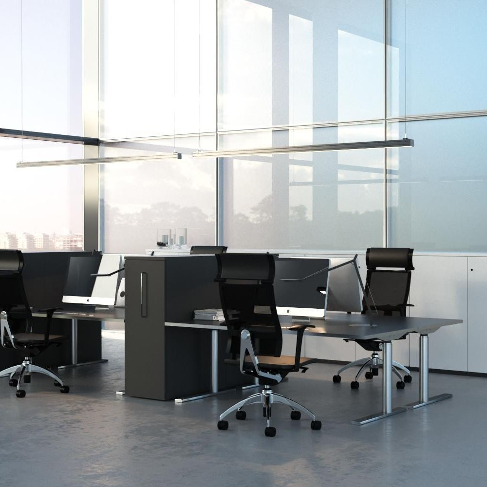 Acoustically screened workspace design with full-height cabinets