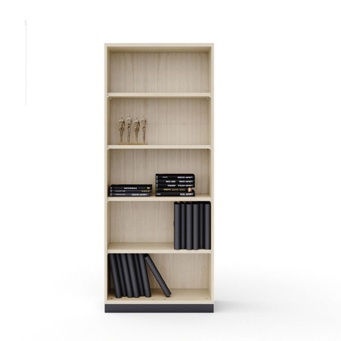 Maple-effect cabinet as open shelf