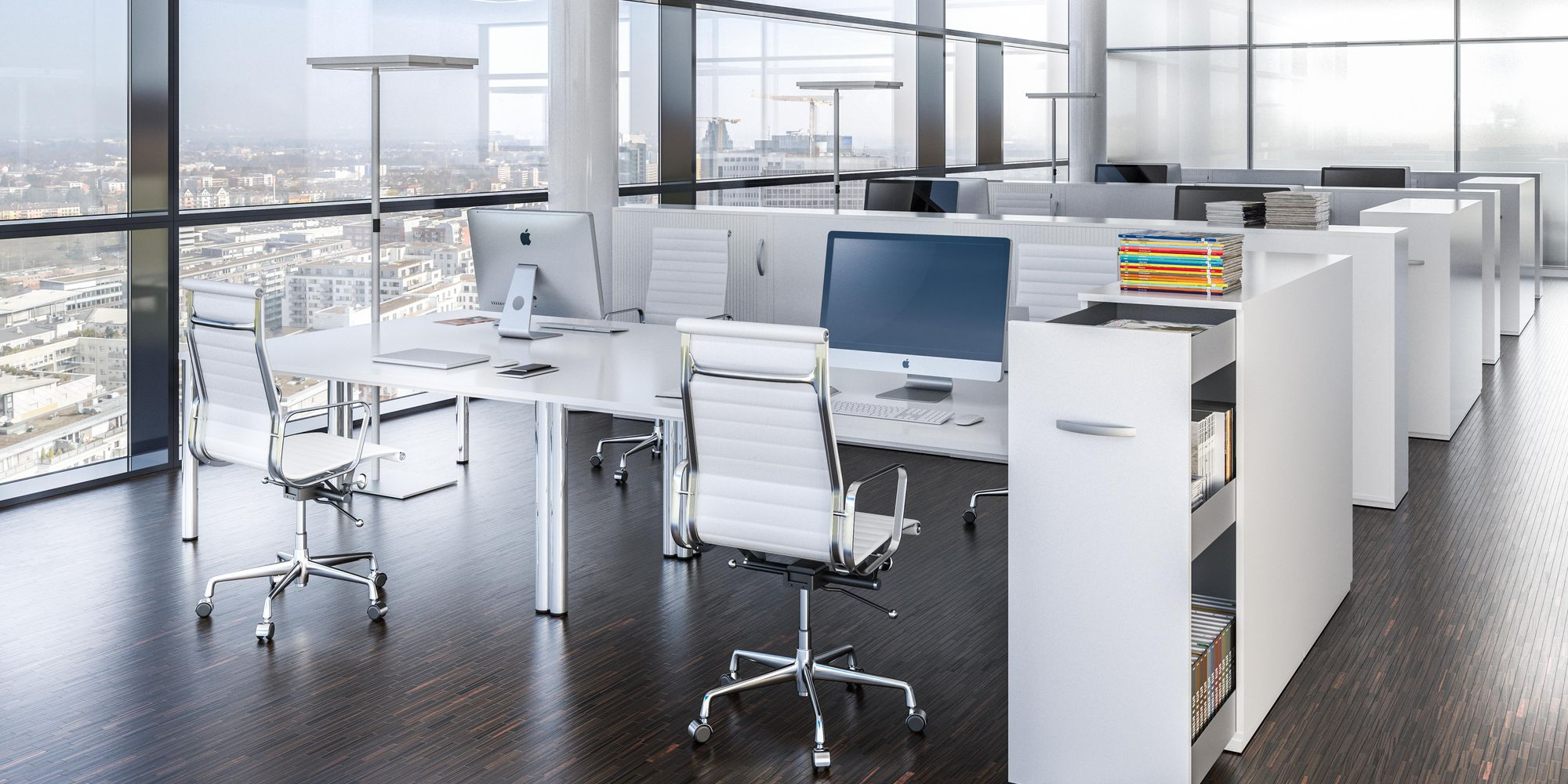 Individual workspaces with full-height cabinet solution