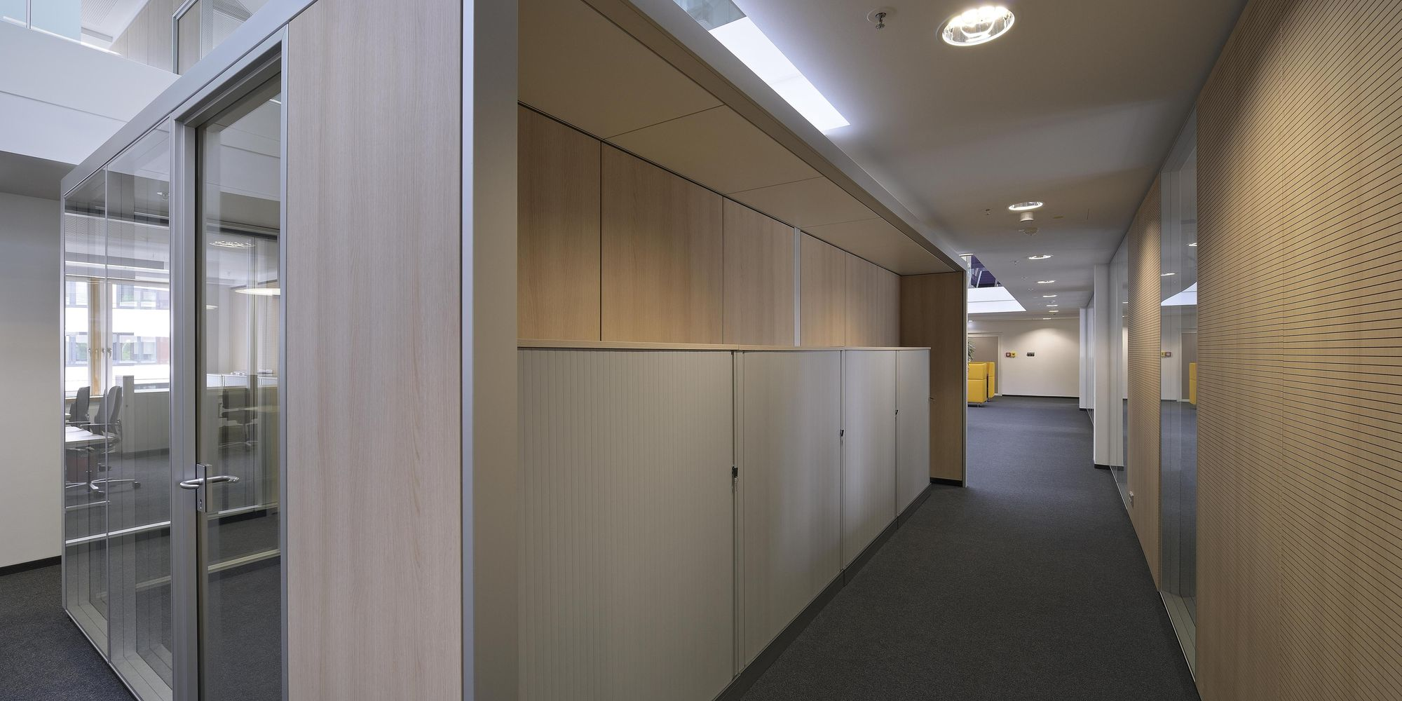 sonic 10 acoustic panels combined with T35 glass partition wall