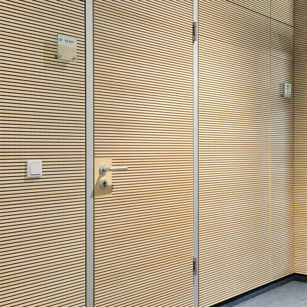 Flush-mounted door with slotted acoustic panels
