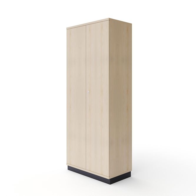 Maple-effect sample cabinet with swing doors