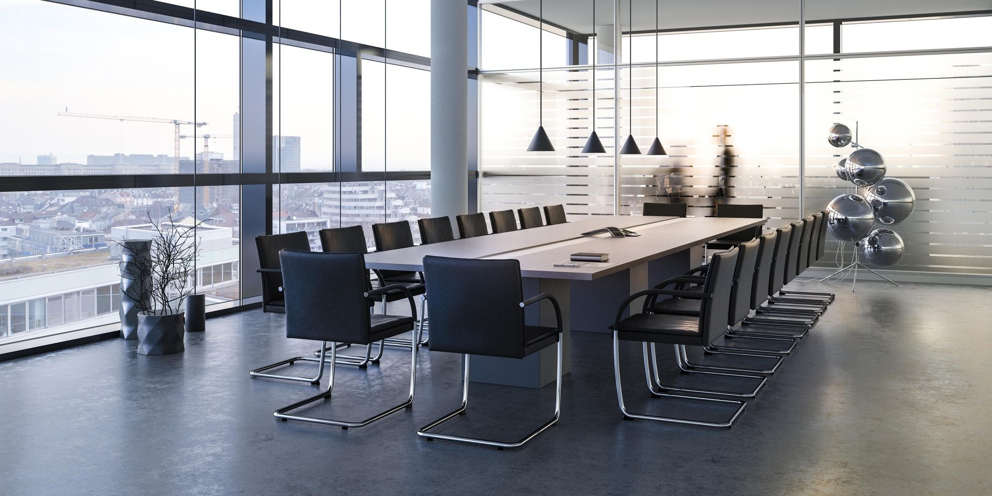 Individual conference table solution with integrated technical systems