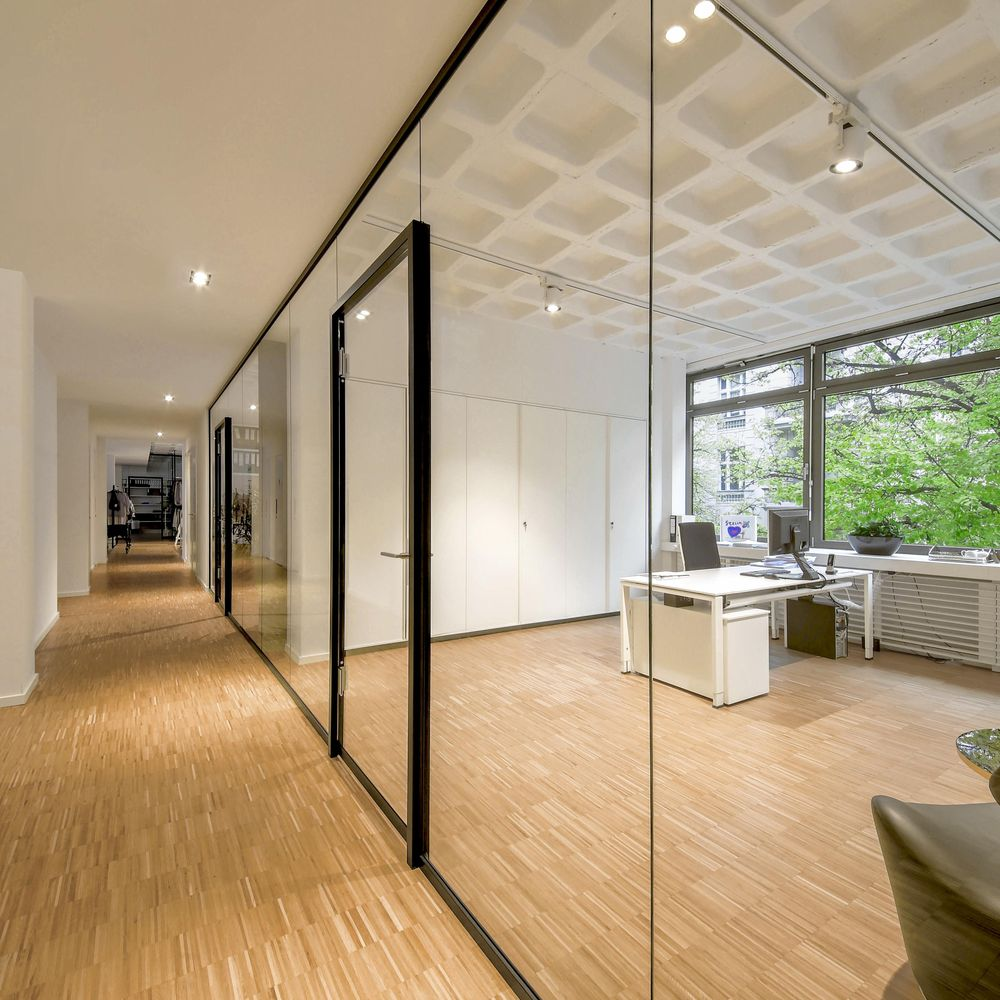 Filigree room partitioning with all-glass swing door
